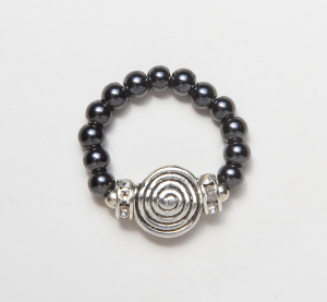 black beaded stretch ring with metal spiral accent bead