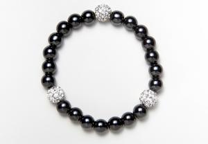 Black and Shamballa Beads Magnetic Stretch Bracelet