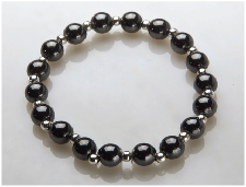 Black and Silver Plated Magnetic Stretch Bracelet