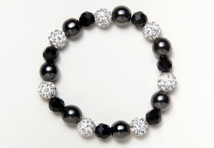 Black Glass and Shamballa Beads Bracelet