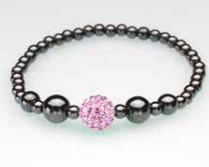 Single Pink Crystal Ball Magnetic Stretch Bracelet