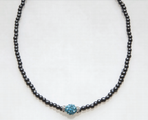 Blue Crystal Ball with Crystal Rondelles Magnetic Beaded Necklace