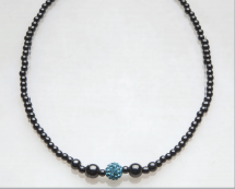 Blue Crystal Ball Magnetic Beaded Necklace