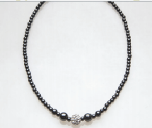 Silver Crystal Ball Magnetic Beaded Necklace