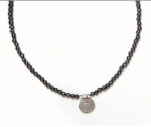 Black Beaded Magnetic Necklace with Metal Spiral Pendant