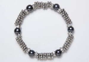 Silver, Black and Crystal Magnetic Stretch Bracelet
