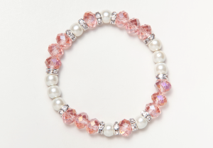 Pink Glass Bead Magnetic Stretch Bracelet