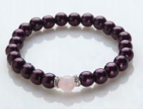 Rose Quartz and Burgundy Magnetic Stretch Bracelet