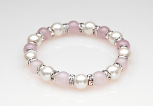 Rose Quartz, White and Crystal Magnetic Stretch Bracelet