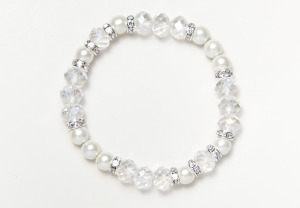 White Glass Bead Magnetic Stretch Bracelet