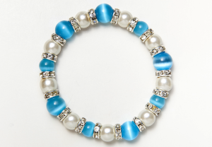 White and Light Blue Cat's Eye Magnetic Stretch Bracelet
