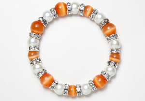 White and Orange Cat's Eye Magnetic Stretch Bracelet