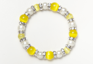 White and Yellow Cat's Eye Magnetic Stretch Bracelet