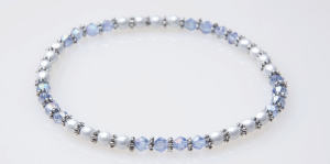 Silver and White Magnetic Stretch Anklet with Blue Crystal Beads