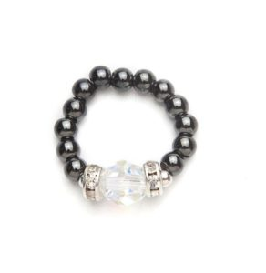 black beaded stretch ring with crystal accent