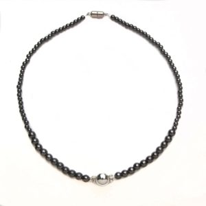 Black and Silver Magnetic Beaded Necklace