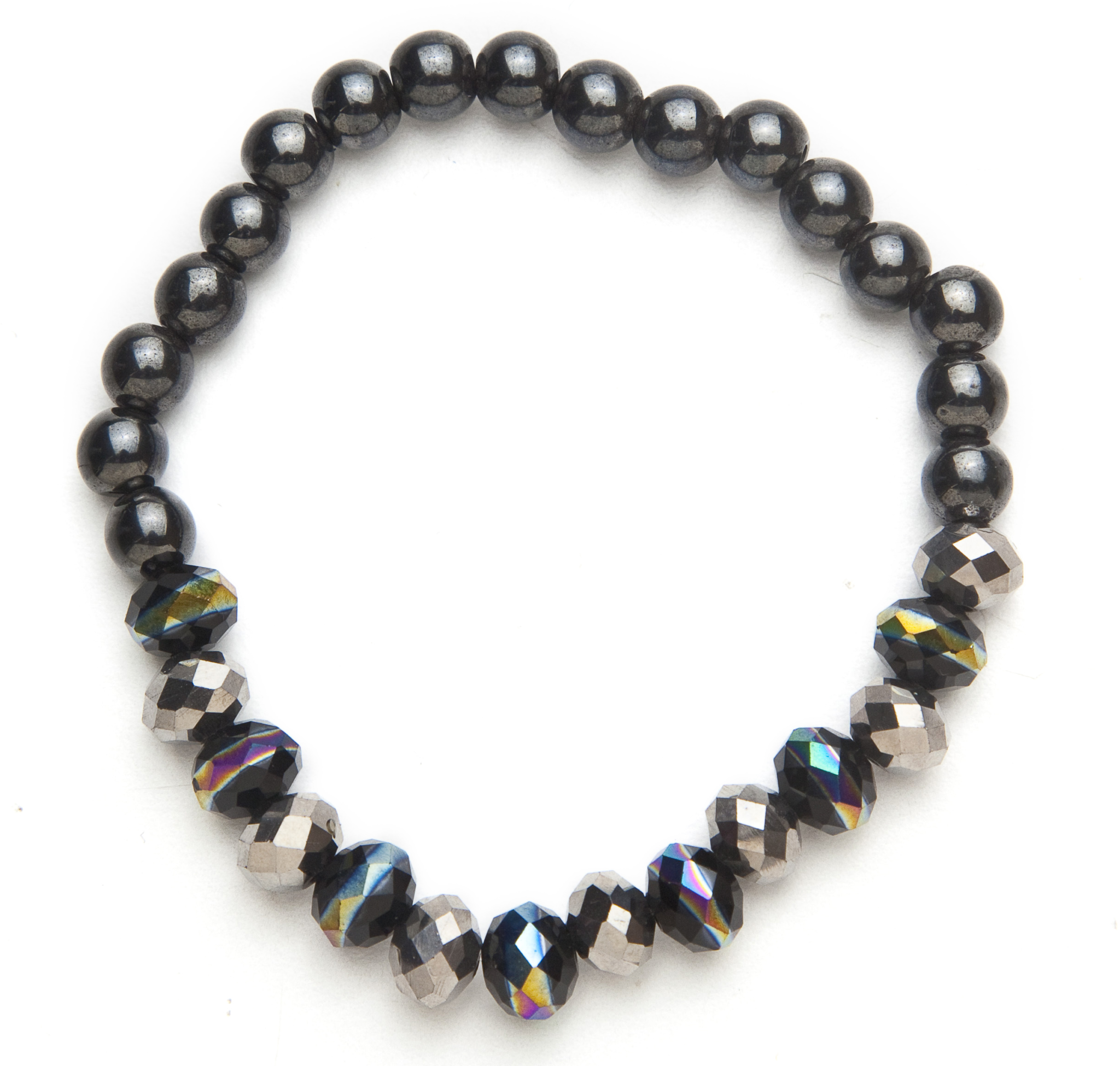 black and multi colored beaded bracelet m0116 bmc