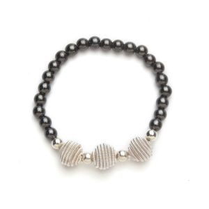 Silver Coil Black Beaded Magnetic Stretch Bracelet