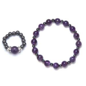 amethyst magnetic ring and bracelet set