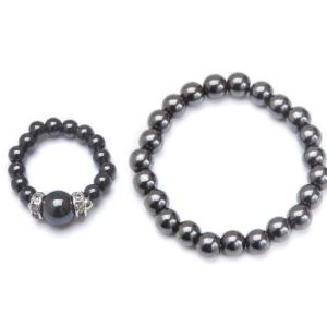 black magnetic stretch ring and bracelet set
