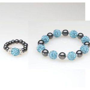 Blue Crystal Magnetic Ring and Bracelet Set