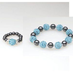 Blue Crystal Magnetic Ring and Bracelet Set