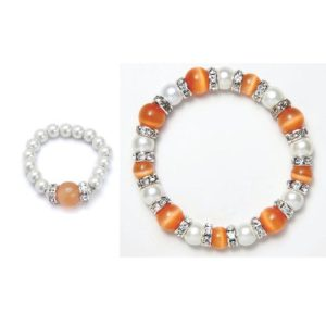 cats eye orange and white magnetic stretch bracelet and ring set