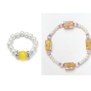 cats eye yellow and white magnetic stretch ring and bracelet