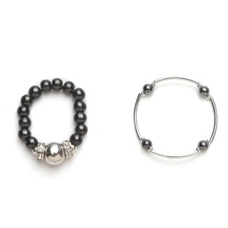 black and silver magnetic stretch ring and bracelet set
