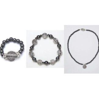black spiral ring, bracelet, and necklace set
