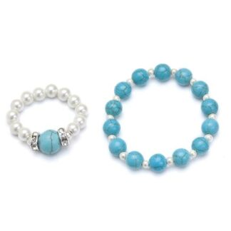 Turquoise and white magnetic stretch ring and bracelet set