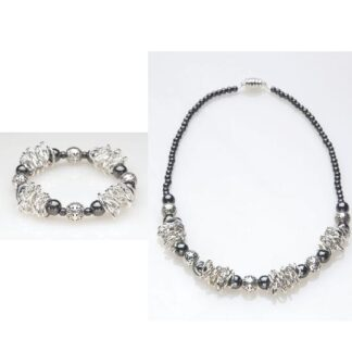 chain link magnetic bracelet and necklace set