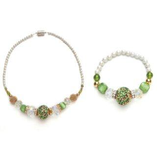 white and peridot crystal magnetic bracelet and necklace set