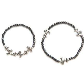 Black beaded silver anklet magnetic stretch bracelet and anklet set